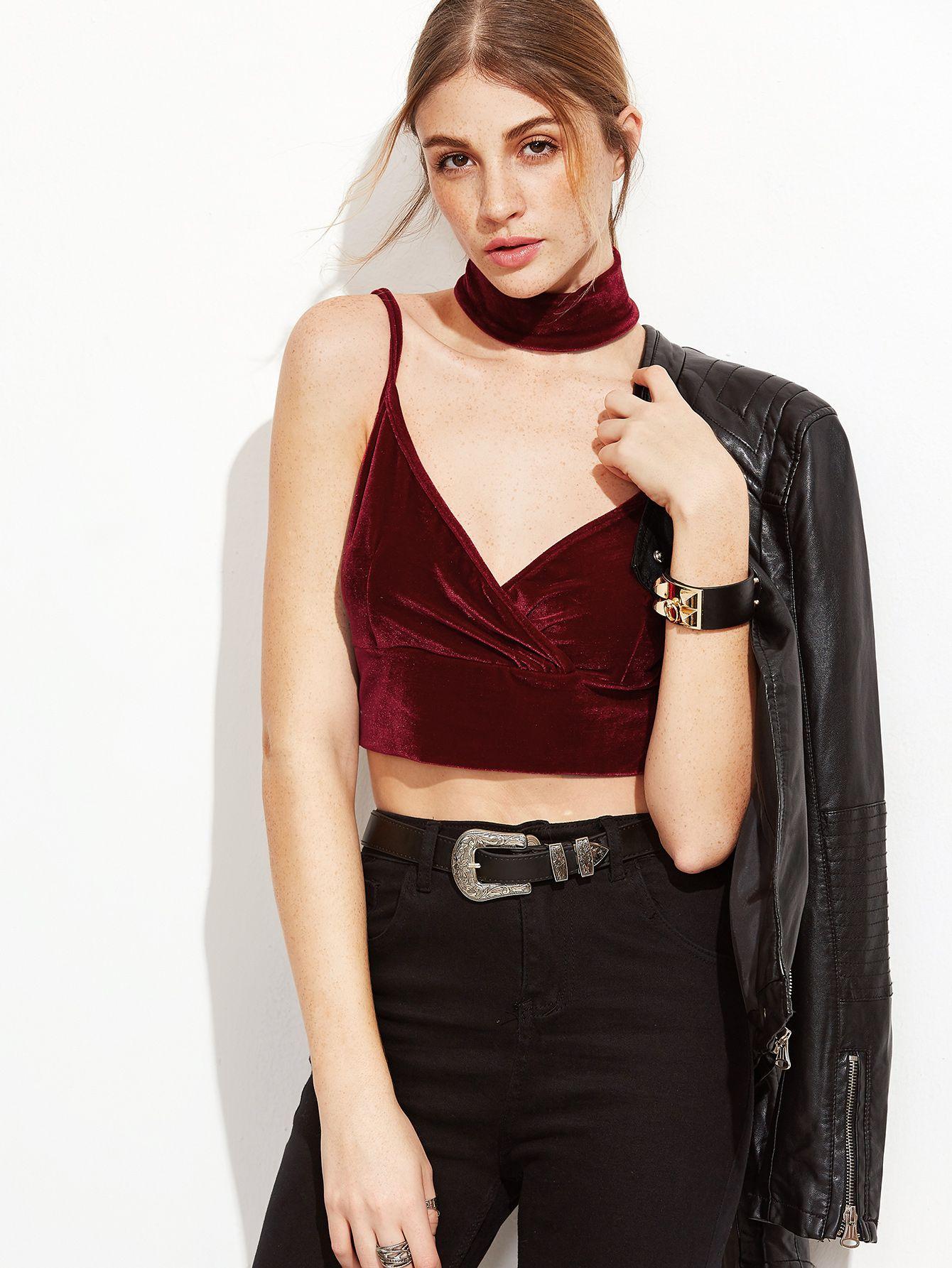 6297399c93b Shop Burgundy Velvet Overlap Bralet With Choker EmmaCloth-Women Fast  Fashion Online