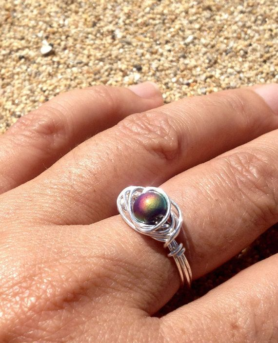 Mood ring, sterling silver mood ring, handmade ring, 18k gold, color ...