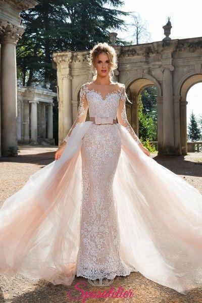 fff40cf8cc55 abiti da sposa con gonna staccabile a sirena in pizzo particolare  collezione 2018
