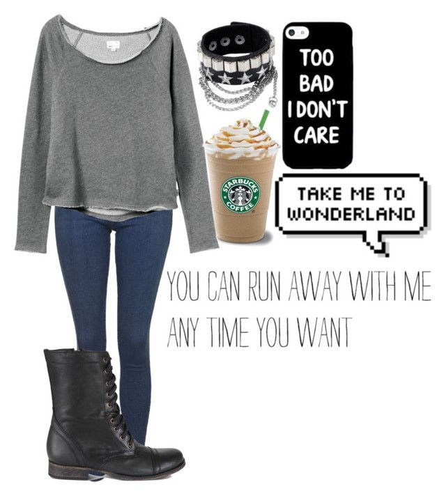"""""""Untitled #785"""" by wish-and-dream ❤ liked on Polyvore featuring Topshop, RVCA and Steve Madden"""