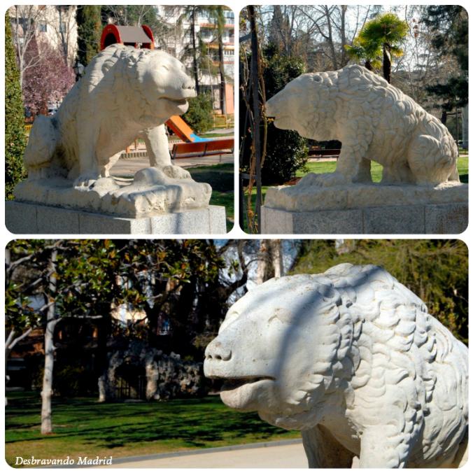 Estátuas de ursos polares que no início estavam dentro das jaulas (ver fotos antigas)