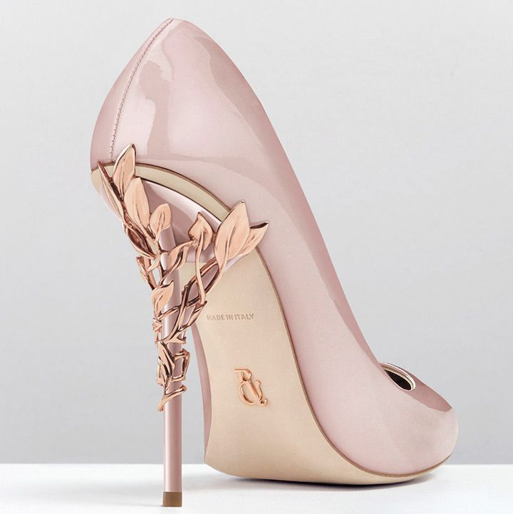 Blush Pink Wedding Shoes With Rose Gold Vines