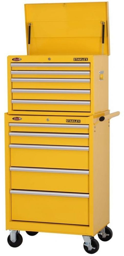 Stanley 10-Drawer Tool Chest Top Box Rolling Bottom Storage Cabinet Set Yellow #Stanley  sc 1 st  Pinterest & Stanley 10-Drawer Tool Chest Top Box Rolling Bottom Storage Cabinet ...
