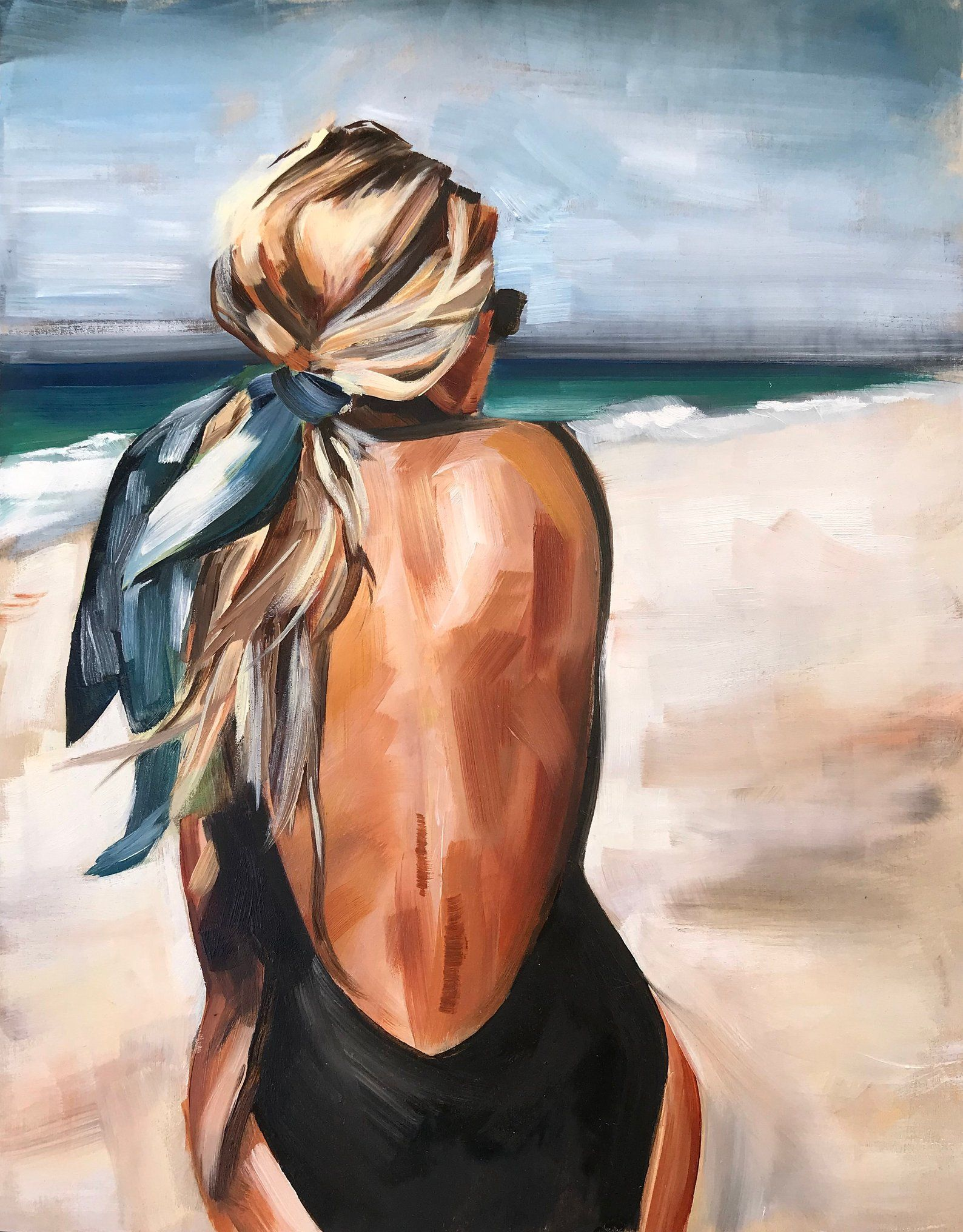 Salty Blonde Oil Print oil painting beach fashion portrait