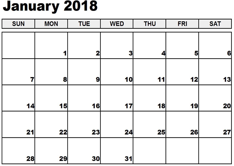 2018 printable january calendar