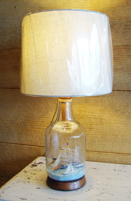 Vintage Nautical Table Lamp Made With Ship In Bottle Diorama Nautical Table Table Lamp Lamp