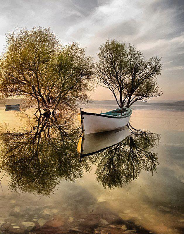 la barca en un espejo