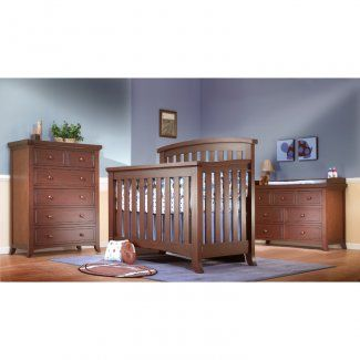 This Lusso Nursery 3 Piece Set In Mocha Cafe Includes The Crib To Full Size Convertible Alex 1500 Double Dresser And 5 Drawer Chest