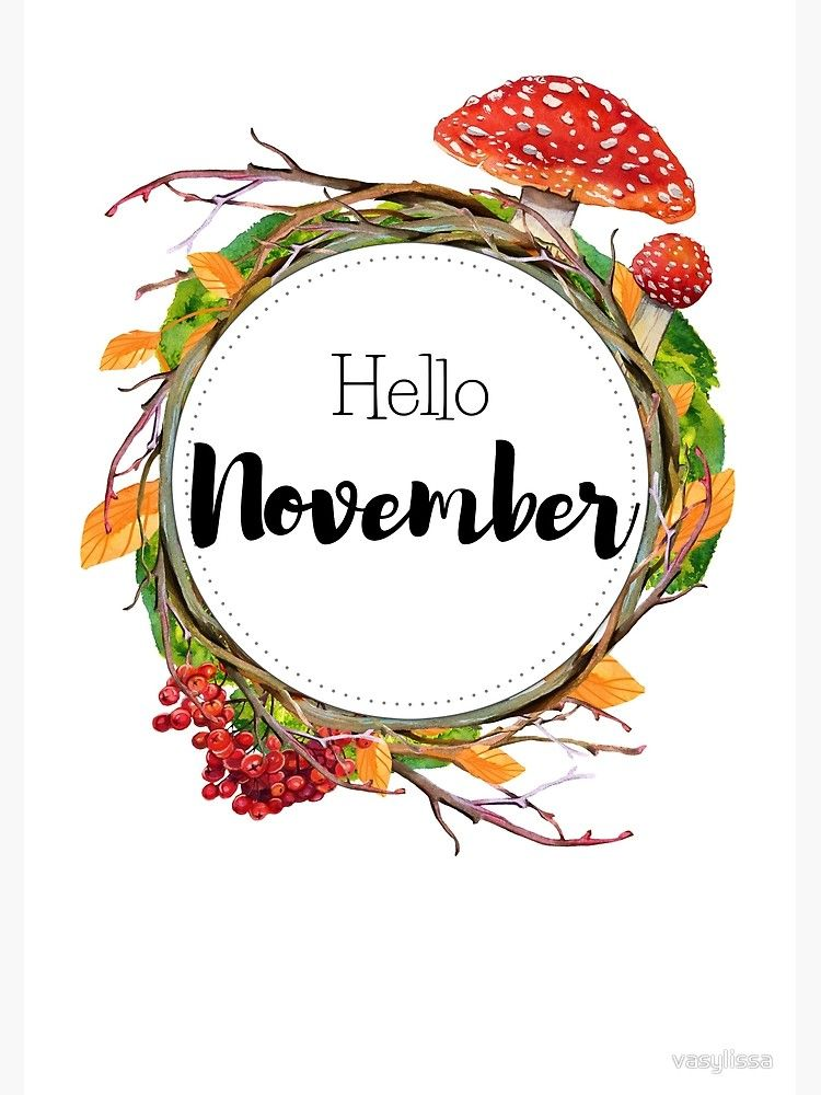 'Hello November - monthly cover for planners, bullet journals' Metal Print by vasylissa #hellonovemberwallpaper