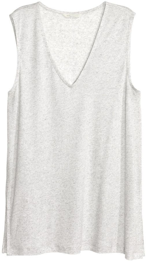 H&M - V-neck Lyocell Top - Light gray melange - Ladies