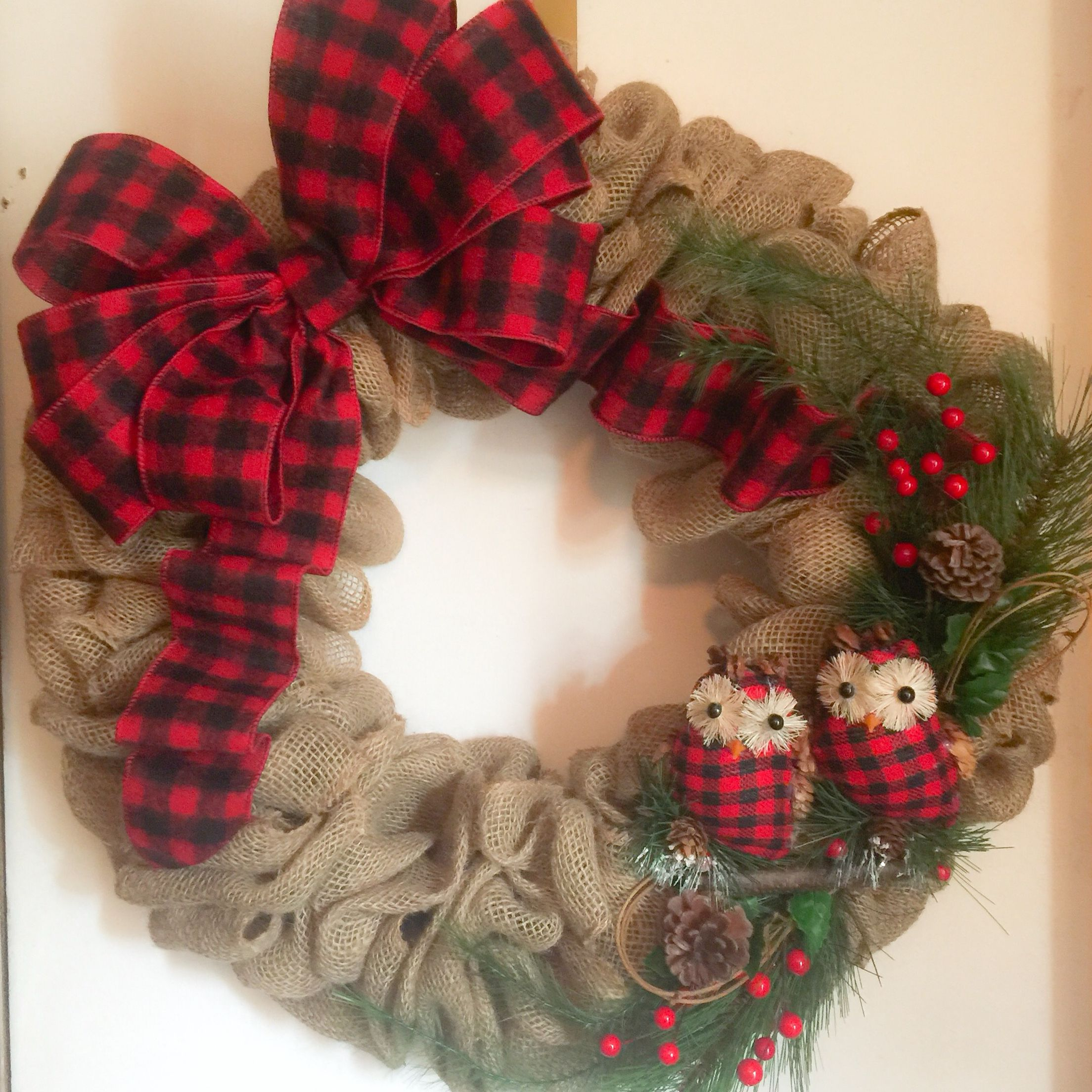 Christmas Burlap Owl Wreath With Red And Black Buffalo Plaid