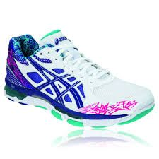 new styles fb473 def75 womens asics netball shoes - so colourful