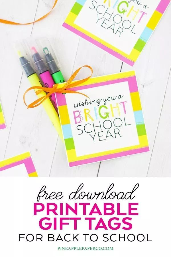 Bright School Year Gift Tags - FREE Printable #eceappreciationgiftideas