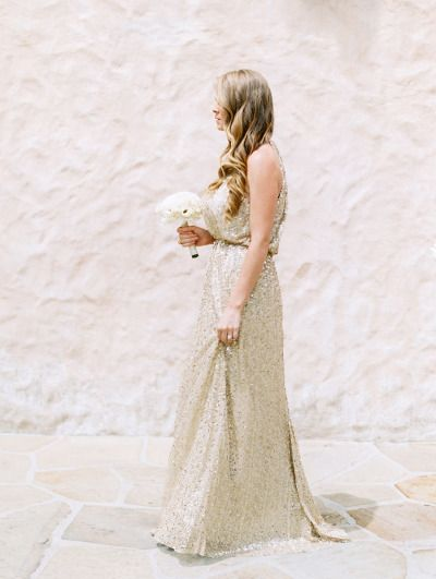 Gold sequin gowns: http://www.stylemepretty.com/2015/03/19/elegant-santa-barbara-gold-infused-wedding/ | Photography: Clary Pfeiffer - http://www.claryphoto.com/