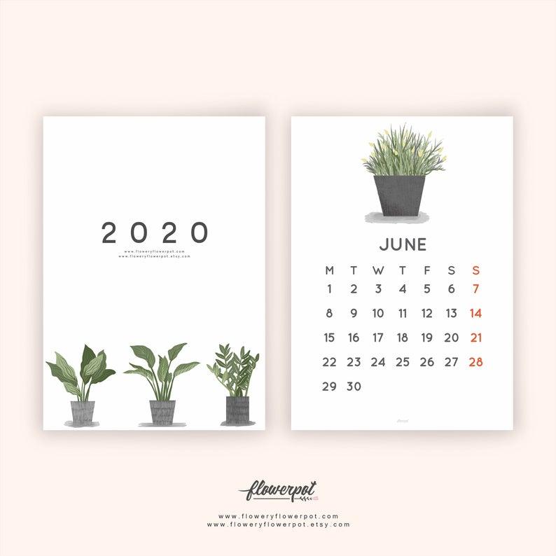 Tropical Plants Illustration Calendar 2021 Printable Calendar Etsy In 2020 Illustration Calendar Printable Wall Calendar Printable Calendar
