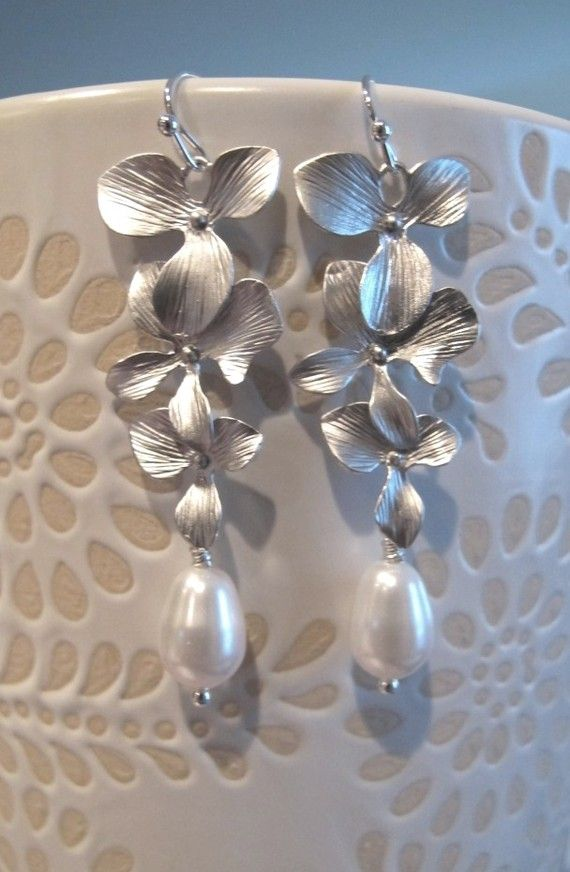 LOVE SALE Sanari Matte Silver Orchids and by RoyalGoldGifts