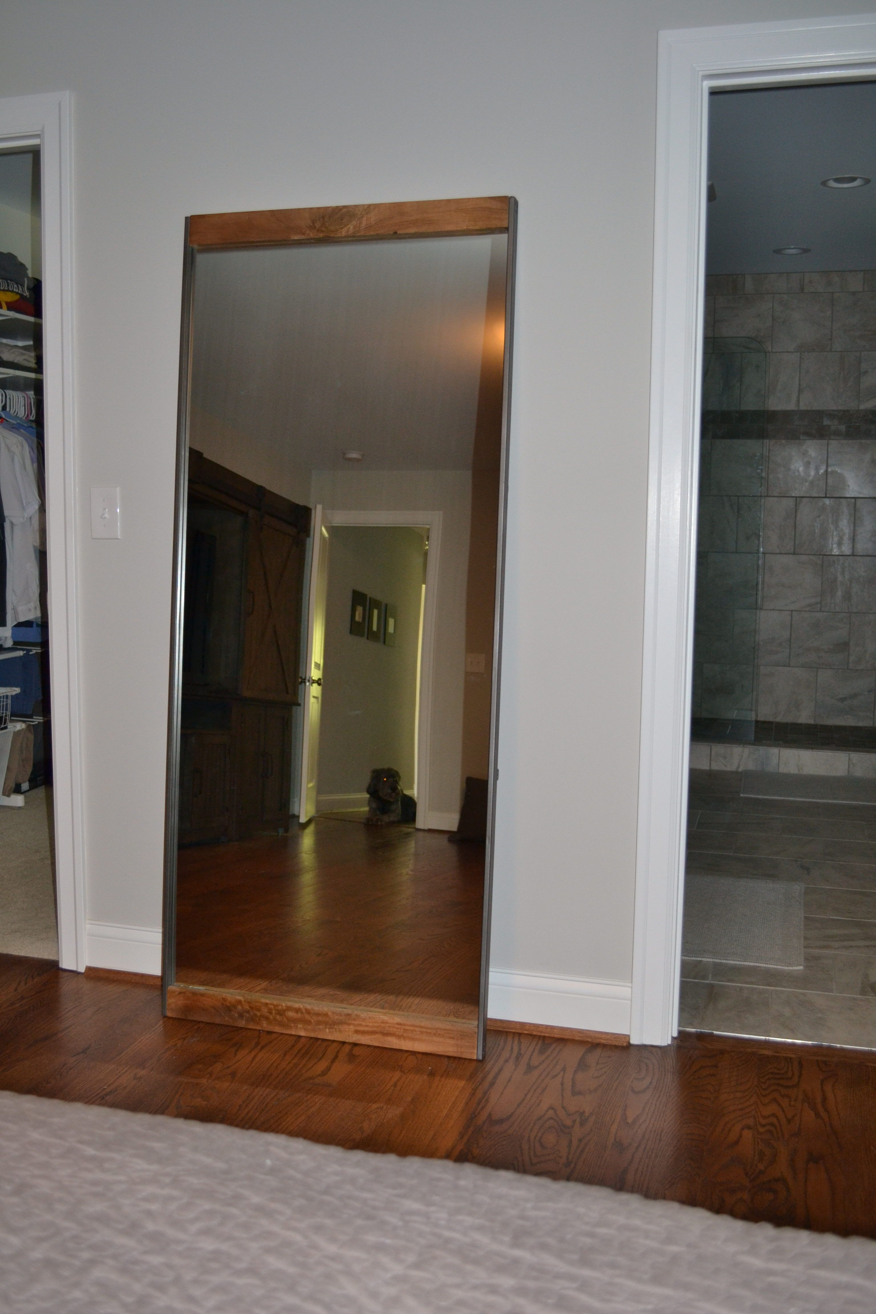 Reclaimed Wood Full Length Floor Mirror With A Whitewash Finish 36