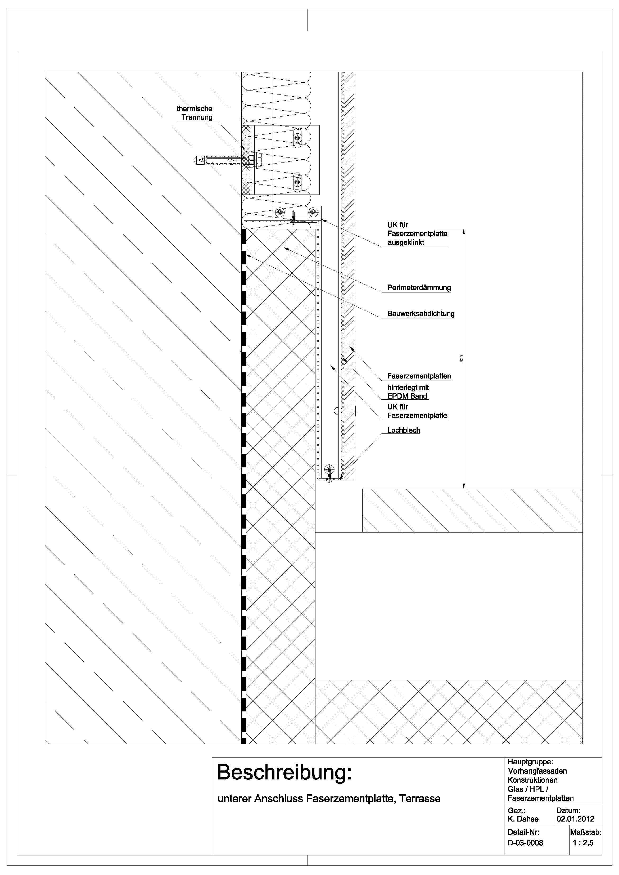 D 03 0008 Unterer Anschluss Faserzementplatte Terrasse Detail