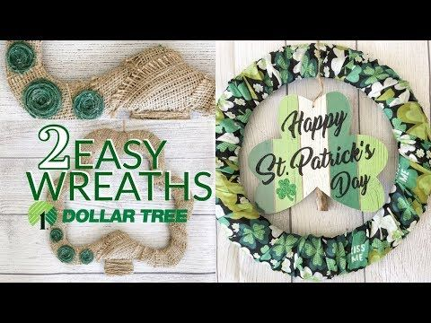 DOLLAR TREE DIY | ST. PATRICK'S DAY WREATHS | EASY DOLLAR TREE CRAFTS - YouTube #dollartreecrafts