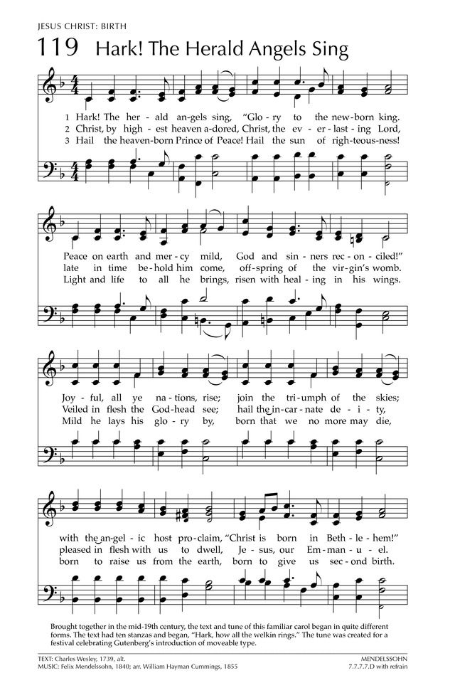 Glory To God The Presbyterian Hymnal 119 Hark The Herald Angels