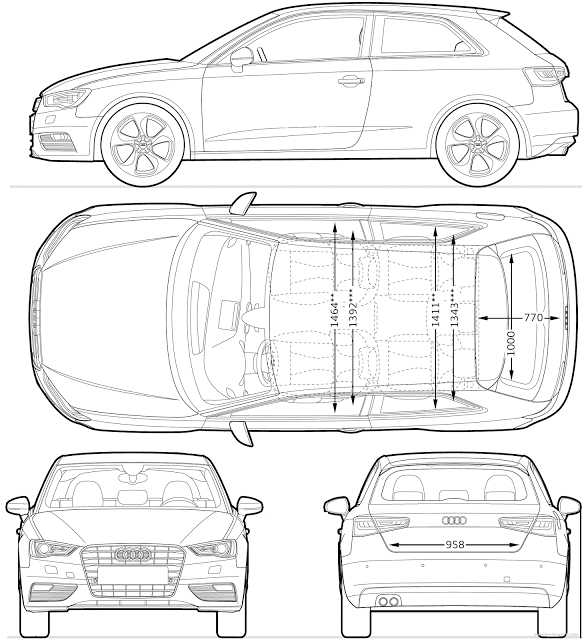 Download car blueprint of audi a3 aralar pinterest audi a3 most loved car blueprints for modeling malvernweather Image collections
