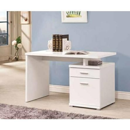 CST White Finish Wood Small Office Computer Desk With File Cabinet Drawer And Open Storage