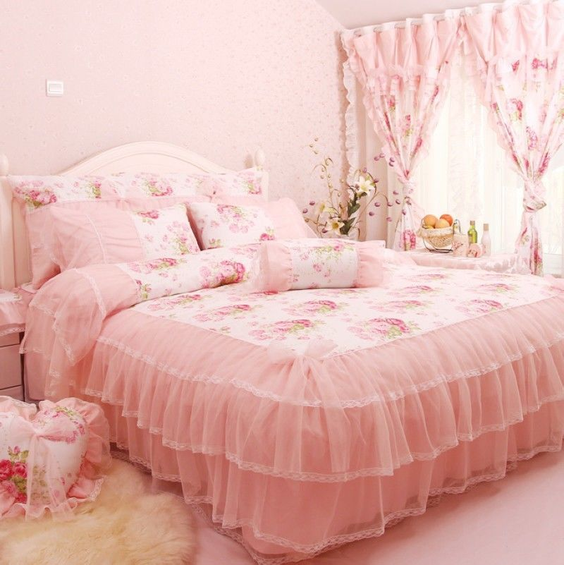 Korean Pink Roses And Lace Ruffled Bedding Sets Rustic