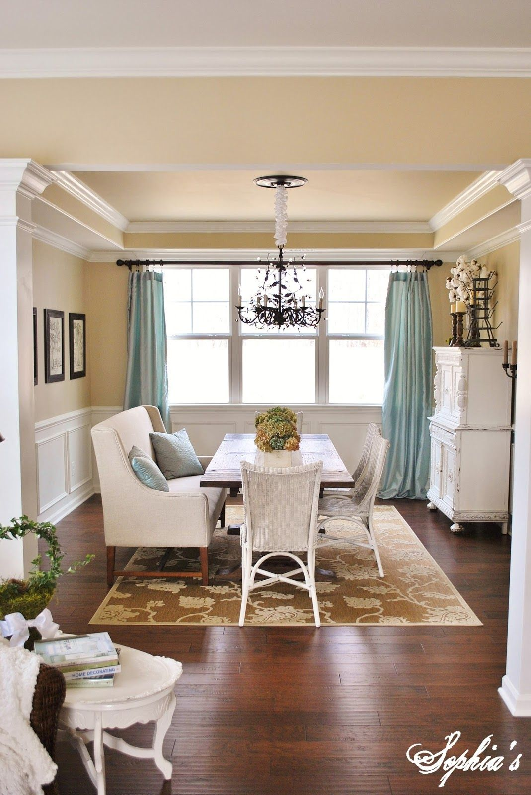Sophia's: Living Room - Dining Room Tour and Q blue curtains