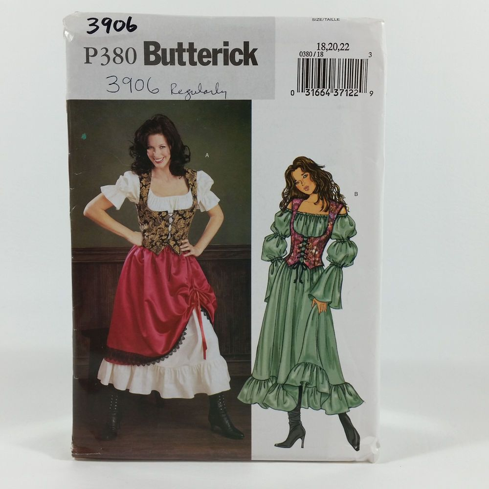 Butterick 3906 P380 Ladies Barmaid Wench Pirate Ste&unk Costume 18-22 Pattern #Butterick #ad & Butterick 3906 P380 Ladies Barmaid Wench Pirate Steampunk Costume 18 ...