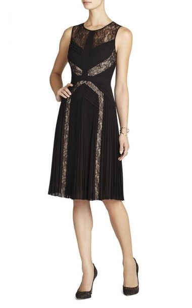 Bcbg Raya Pleated Lace Cocktail Dress Black Rebound Beckham