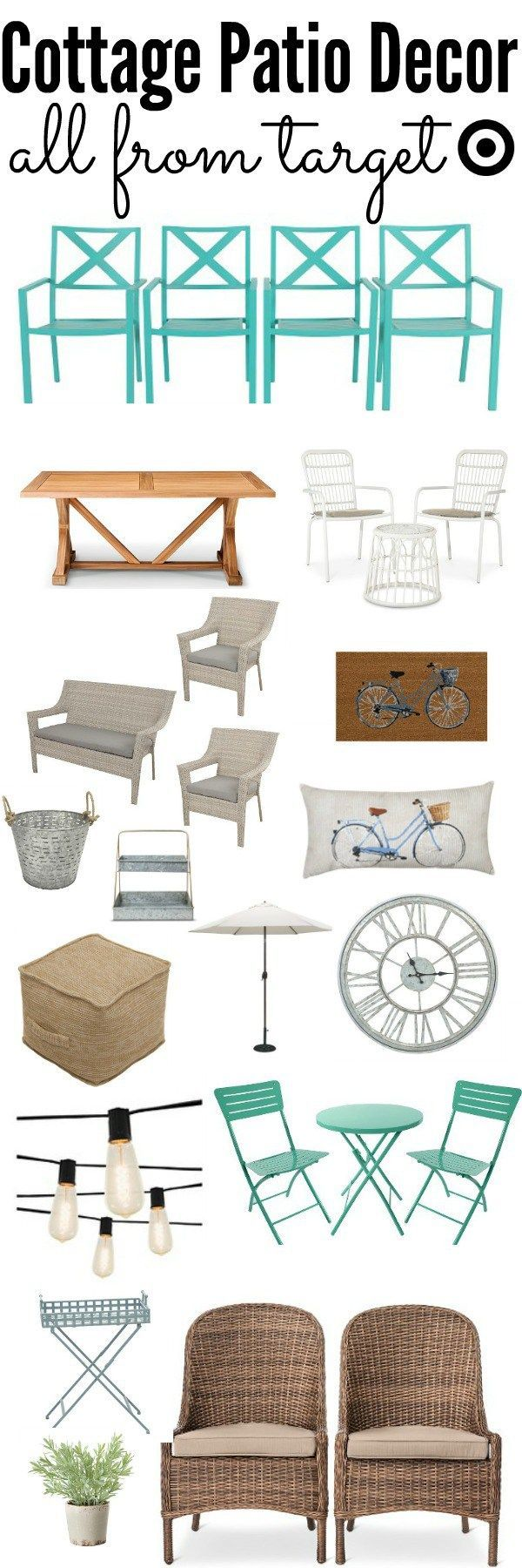cottage style patio decor - cozy rustic style patio decor all from Target  at an affordable price. A great pin for spring & summer patio decor!! - Cottage Style Patio Decor Home Decor And DIY Patio, Cottage