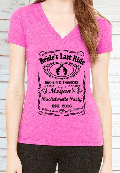 Brides Last Ride Bachelorette Party Customized V Neck T Shirt 4 6 Bridal