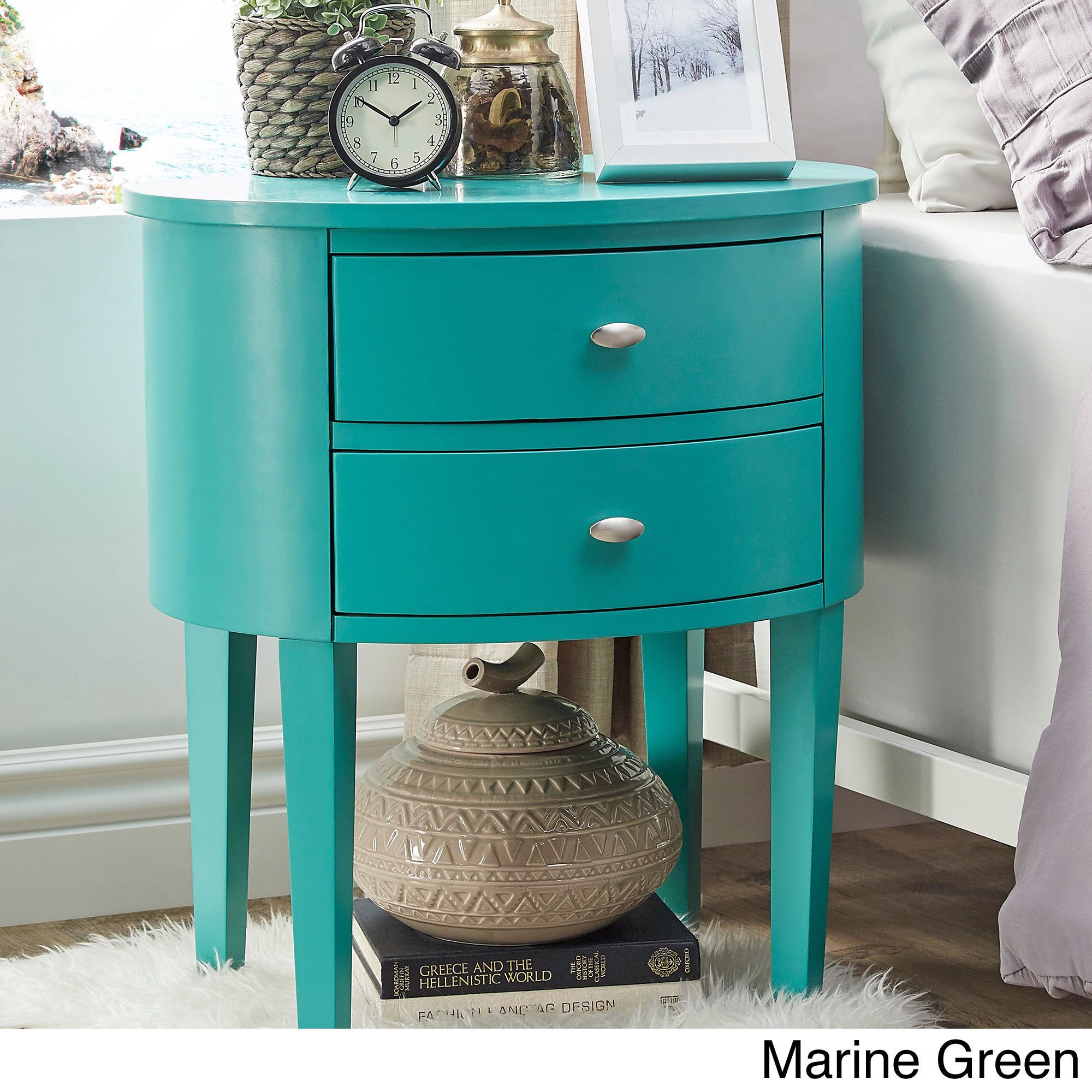 Aldine 2-drawer Oval Wood Accent Table by Inspire Q (Marine Green)