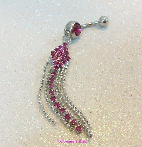 f244c0419 Long chandelier dark pink fuchsia crystal bellybutton jewelry in 14 ga    YOUniqueDZigns - Jewelry on ArtFire