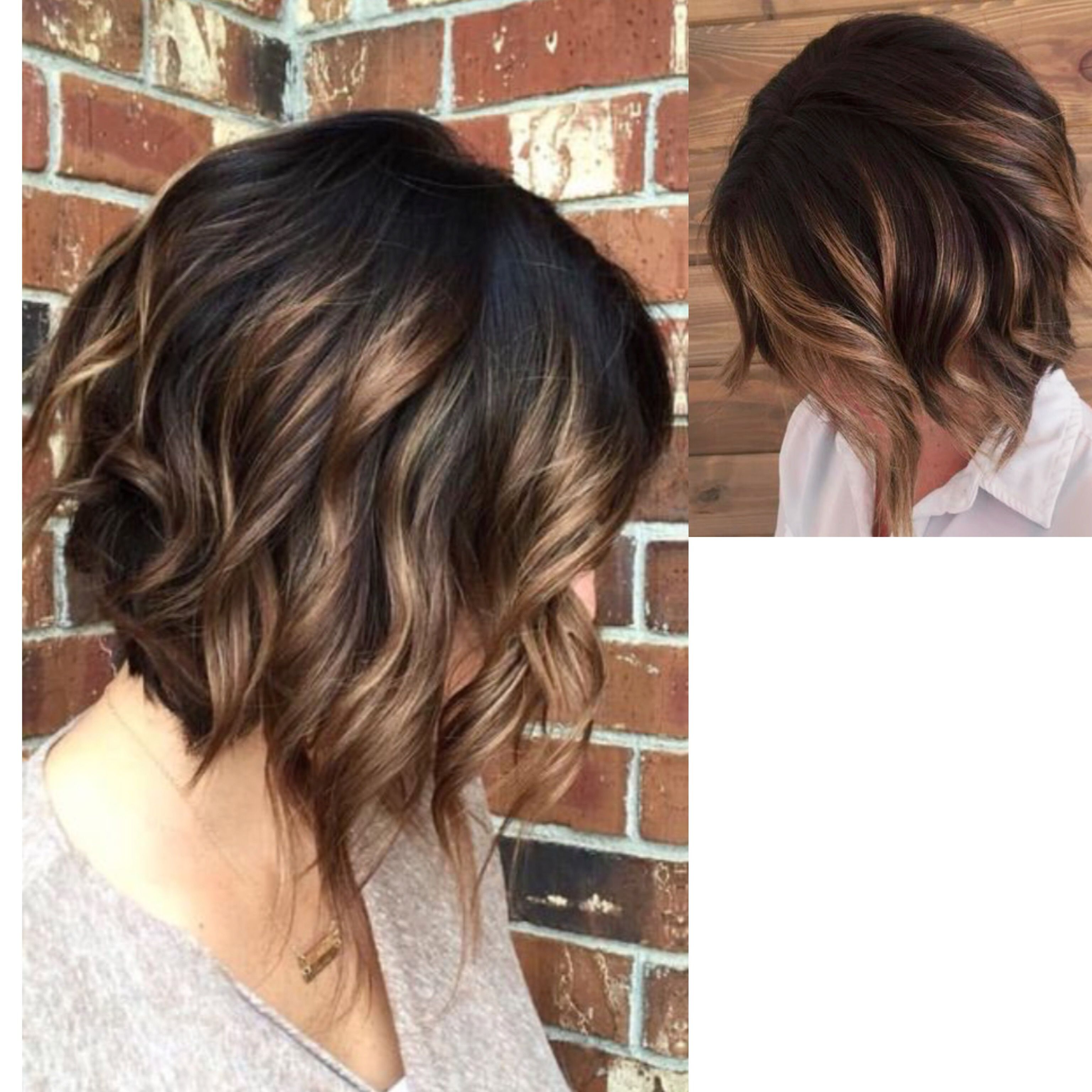 Shorter In Back Loose Waves Piecey In Front Face Framing Layers Short Hair Balayage Hair Styles Short Hair Styles