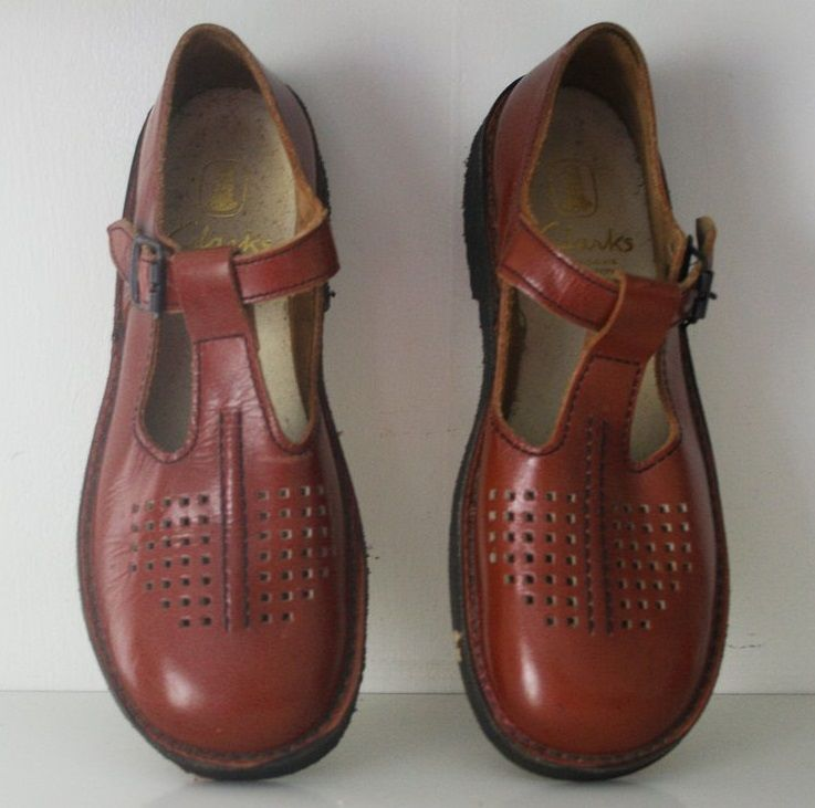 1950s red vintage children's Clarks T Bar shoes