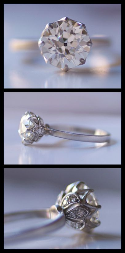 Grace Solitaire engagement ring by Erika Winters in platinum with a 2.16-carat old European cut diamond. Via Diamonds in the Library.