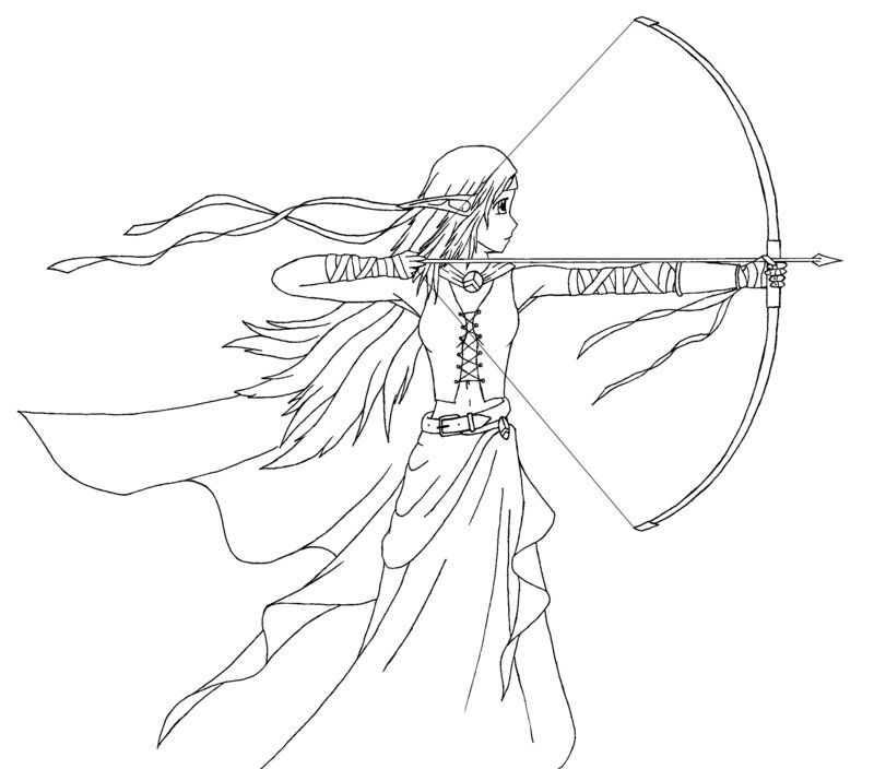 Coloring Pages Archer Anime Girls Colouring Printable Books Sheets