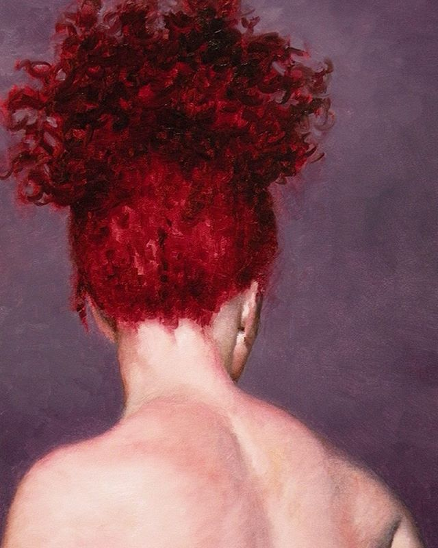 """The Back of Sarah's Head oil on panel, 8""""x6""""  This is one of two paintings I am painting for """"Small is Beautiful,"""" a group show at @flowersgallery which I am very happy to be part of. Opening November 19th.  #art #drawing #artmodel #artistmodel #lifepainting #figurepainting #figurativepainting  #oilpainting #painting #contemporaryart #postcontemporaryart #danielmaidman"""