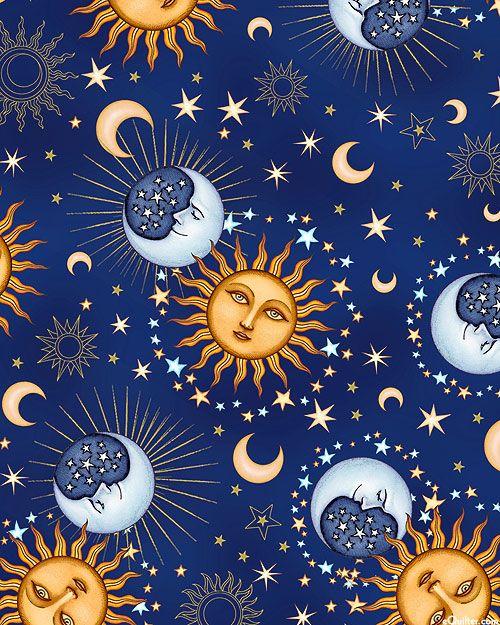 Celestial Sol Heavenly Orbs Navy Blue Gold Sun Art Celestial Art Moon Art