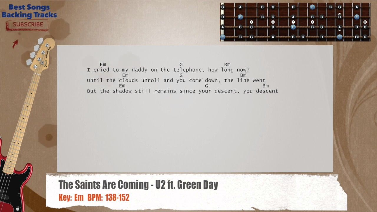 The Saints Are Coming U2 Ft Green Day Bass Backing Track With