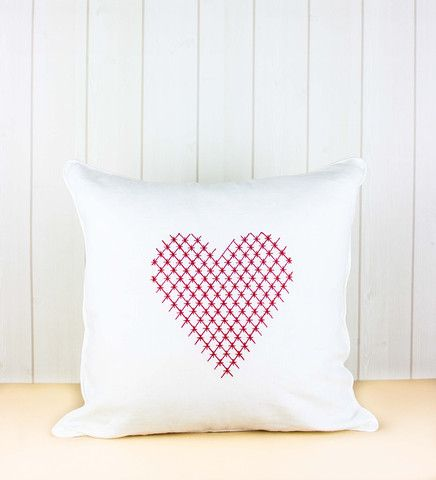Hearts Cushion - Red on White