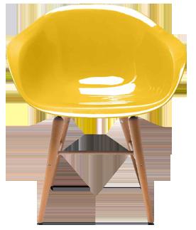 """<p style=""""font-family: OpenSans, Helvetica, Arial, sans-serif;"""">Ajoutez une touche de couleur à  votre intérieur avec cette chaise en plastique dotée d'un siège lisse et de pieds en fer recouverts de bois de hêtre.<p style=""""font-family: OpenSans, Helvetica, Arial, sans-serif;"""">Existe en jaune,..."""