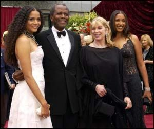 Sidney Poitier, wife and daughters Sydney and Anika.