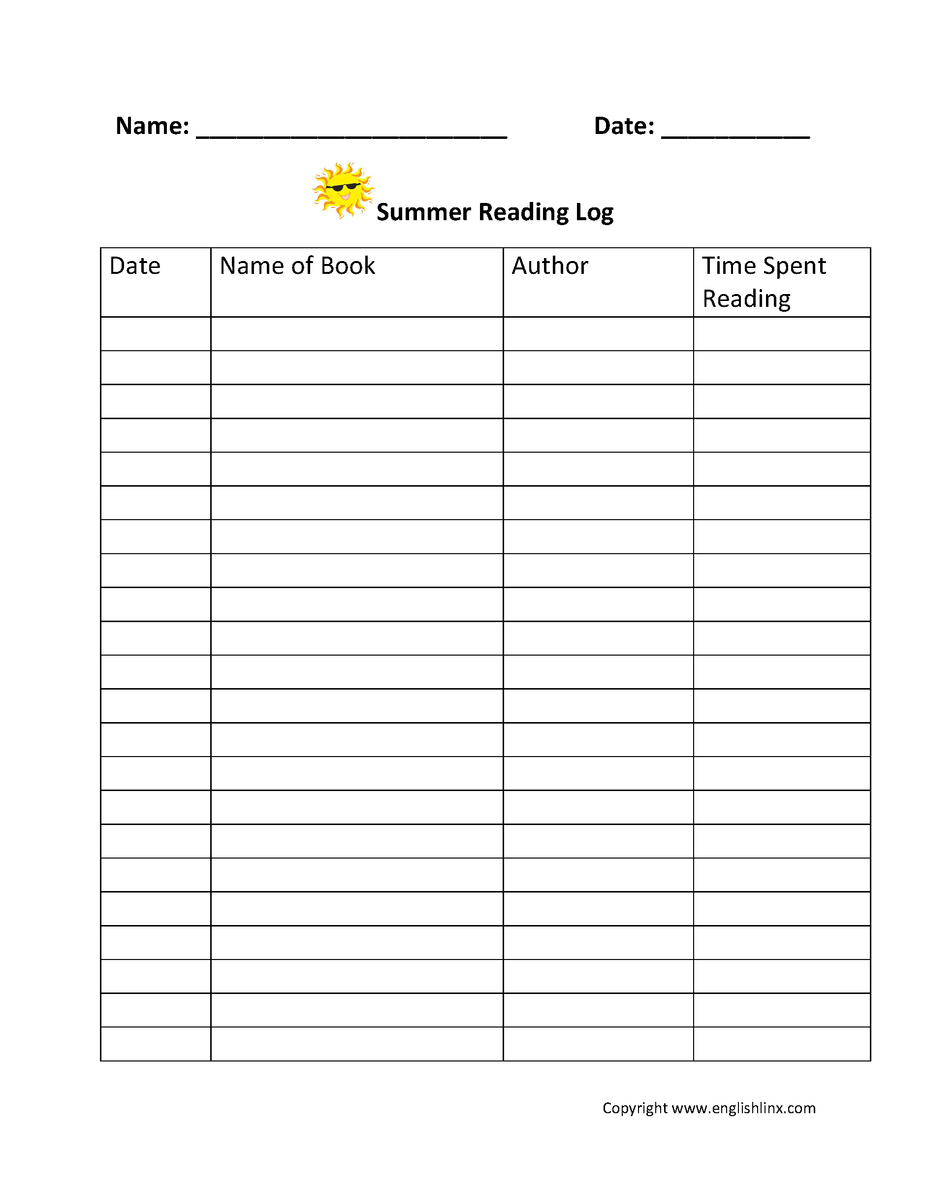 Summer Reading Log Teaching Ideas Logs