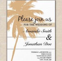 Sandy Palm Tree Wedding Invitation Template Free Download