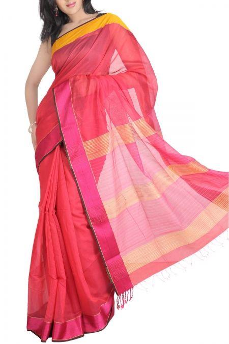 de9f4227cdb3 Raspberry Cotton Silk Maheshwari Saree. India s Best Ethnic Wears   Wares. Shop  Online at www.ethnickart.com