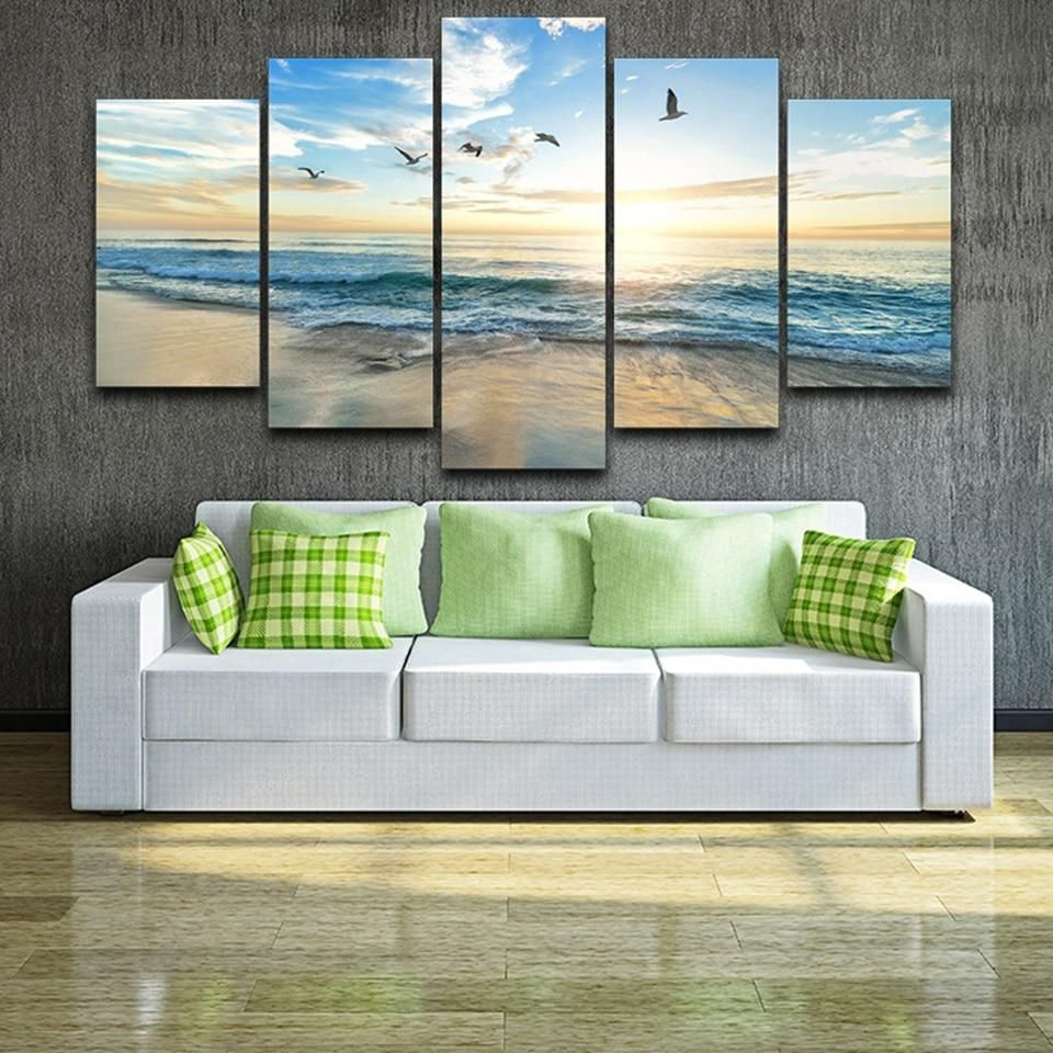 Seagulls On Beach 5 Piece Hd Multi Panel Canvas Wall Art Frame Modular Wall Art Customized Canvas Art Wall Canvas