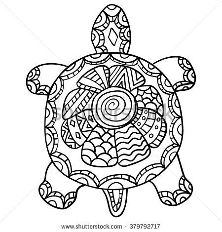 stock vector coloring page for adult drawing zentangle turtle