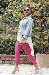 Sejour Denim Jacket, High/Low Tunic & Ankle Pants (Plus Size)